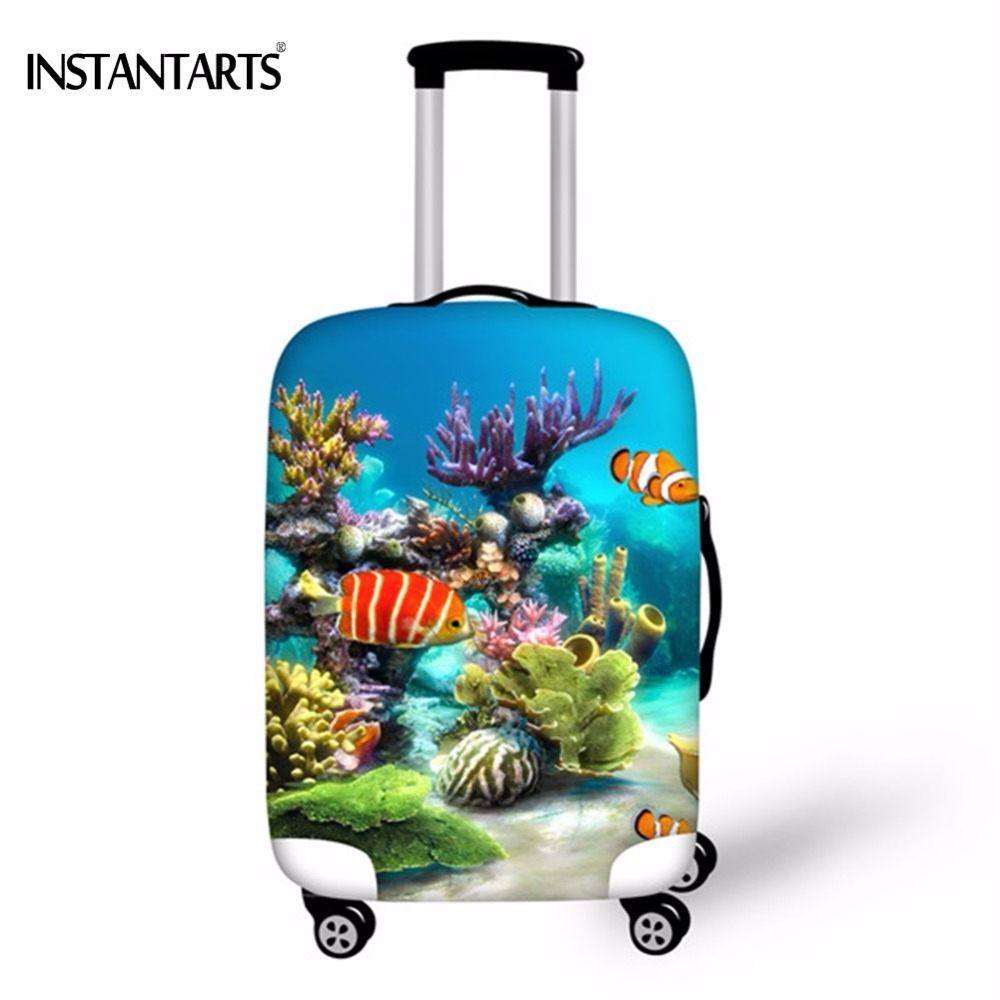 INSTANTAR  Travel Luggage Covers Tropical Fish Printing Trolley Suitcase Dust Rain Protective Cover For 18-30 Inch Travel Cases