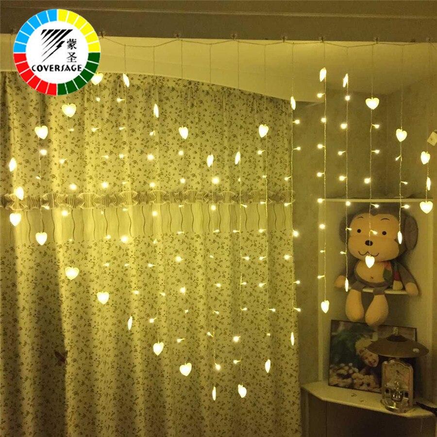 Coversage Ghirlande Di Natale Leggiadramente Led String Lights Wedding Tenda Esterna Cuore Decorativo Xmas Party Luci Farfalla