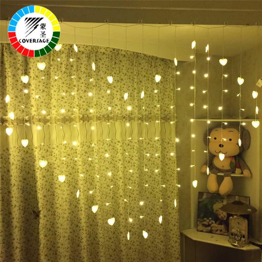 Coversage Navidad guirnaldas de hadas led luces de la secuencia de la boda al aire libre cortina corazón decorativo fiesta de Navidad luces mariposa