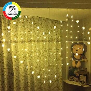 Coversage Weihnachten Girlanden Fee Led Lichterketten Hochzeit Vorhang Im Freien Dekorative Herz Xmas Party Schmetterling Lichter