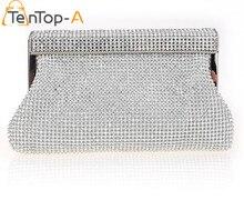 TenTop-Eine Frauen Diamant Kupplung Abendtaschen Silber Gold Schwarz Einfarbig Voller Diamanten Mini Kette Geldbörse hochzeit Tasche