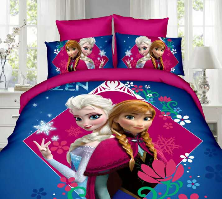 Elsa And Anna Bedding Sets Single Twin Size Pink Disney Princess Duvet Cover Sweet Girl Kids Bed Linens 3d Cartoon Home Textiles
