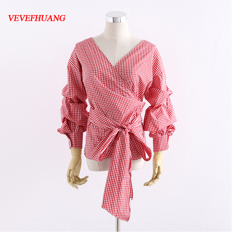 New Female Plaid Blouses Bowknot Deep V Fashion Feminine Red Tops Elegant Ladies Layering Puff Sleeve Shirts Casual Girl Clothes