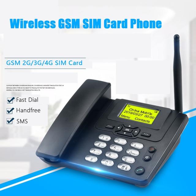 GSM 900/1800 MHz Cartão SIM Suporte Fixo de Telefone Com Rádio FM ID Chamada Handfree Telefone Fixo Telefone Fixo Sem Fio telefone telefone de Casa Preto