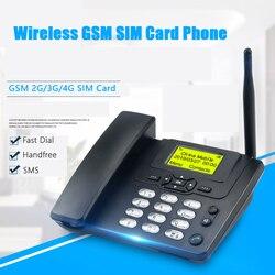 Gsm 900/1800 mhz suporte sim cartão fixo telefone com fm chamada de rádio id handfree telefone fixo sem fio casa preto