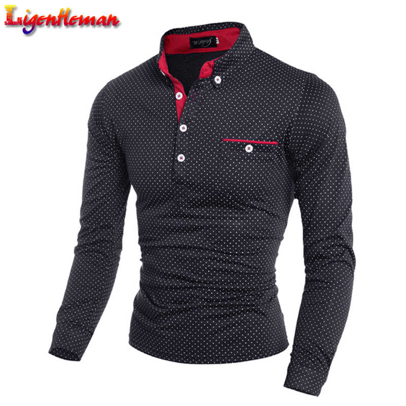Male Long Sleeve Fashion Casual Slim Polka Dot Pocket Button Polos Slim Men Jerseys Brand New 2019 Autumn Mens Polo