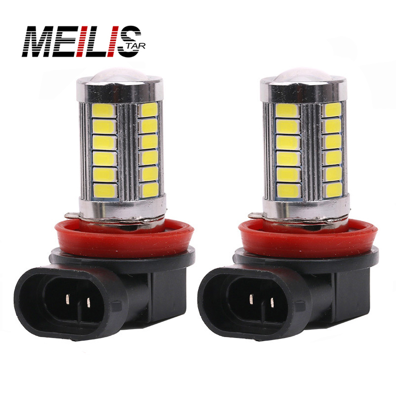 2Pcs Daytime Running Light H11 Fog Lights High Power Headlight Bulbs White 12V 18W 5630 SMD 6000K DRL Driving Light Car led dc12v h7 7 5w 5led led fog light high power car auto led xenon white daytime running light bulbs headlight head lights