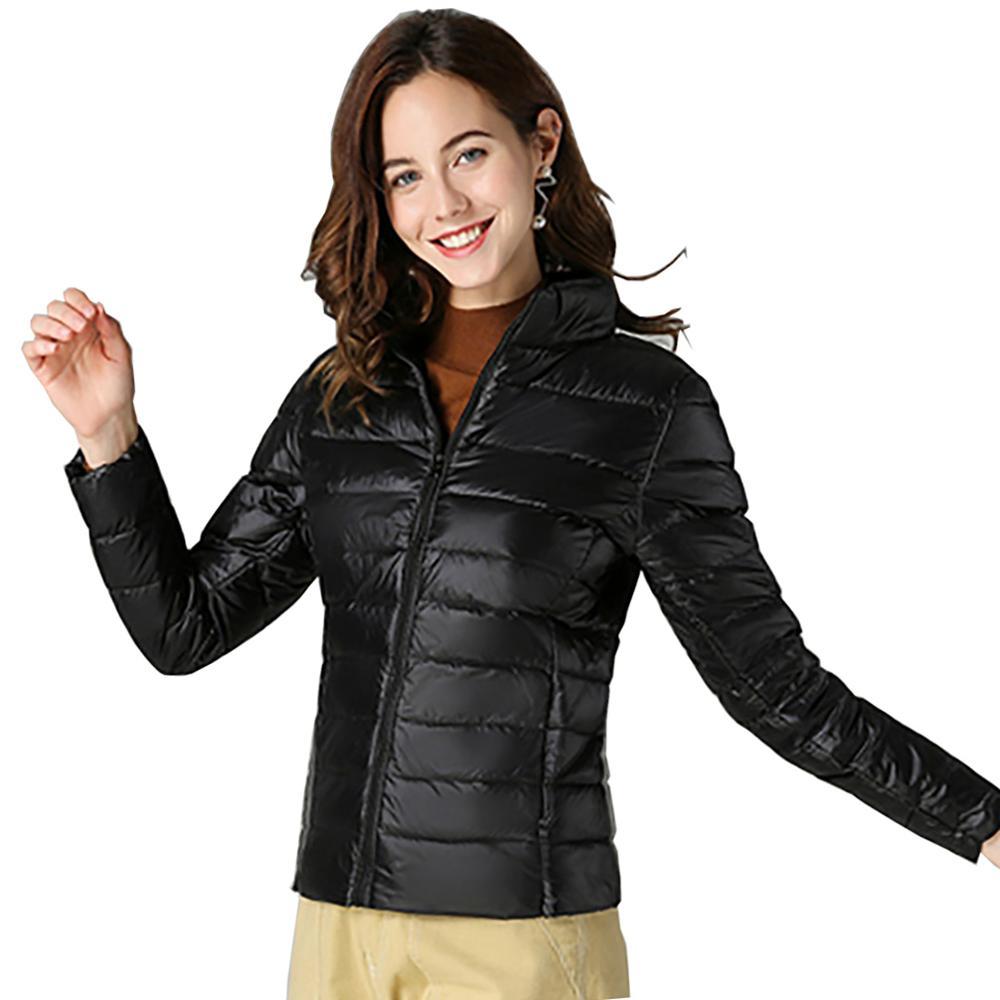 Jacket   Women Spring Autumn Long Sleeve Short Warm Winter Down Coat Duck Down Outwear Lightweight   Basic     Jackets   Famale Tops