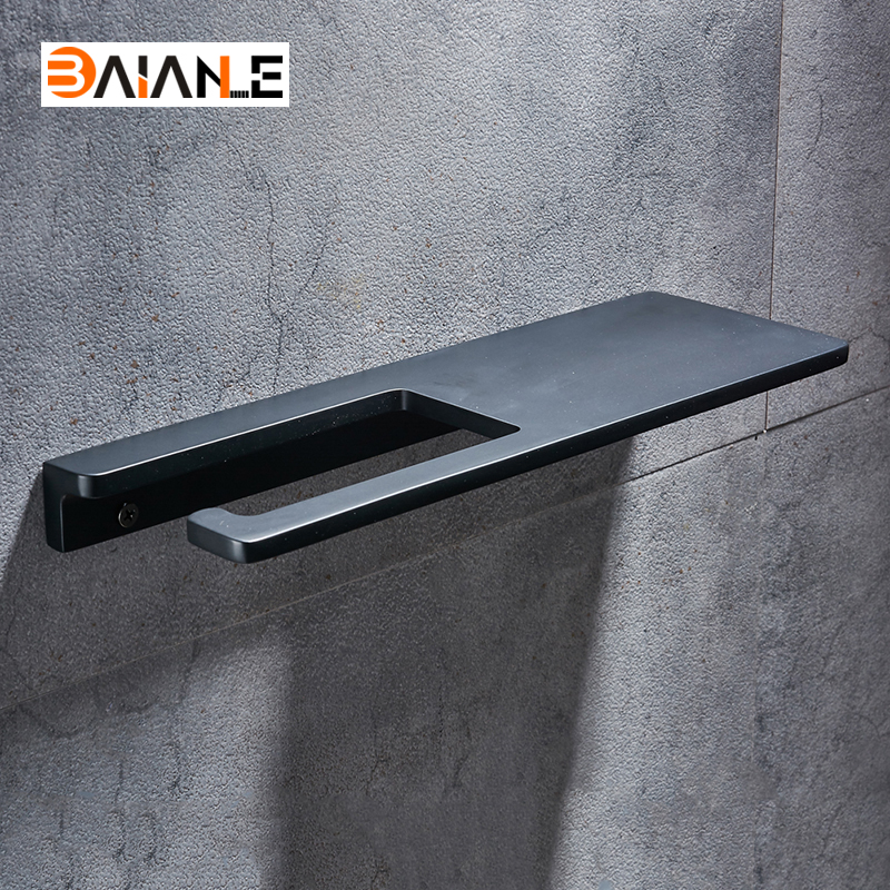 Free Shipping Aluminum Black Bathroom Roll Paper Holder Mobile Phone Rack Wall Mounted New Design