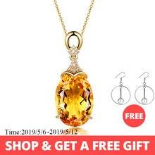 98eb310070d0 Plata de Ley 925 colgante de collar para las mujeres joyería fina citrino  amarillo cadena boda fiesta de compromiso regalo de Sa.