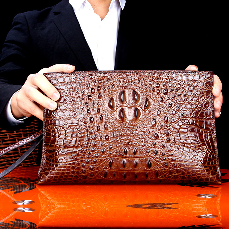 High Quality 100%Thailand Crocodile Leather Men Handbag Fashion luxury brand Envelope Bag Vintage Business Bag Man Indispensable