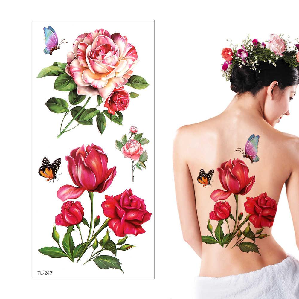 Tatuagem temporária Adesivos Decalque de Corpo Inteiro Flor Braço Perna Arte de Longa Duração À Prova D' Água Unisex 19cm x 9 centímetros Falsa Tatuagem hallowen