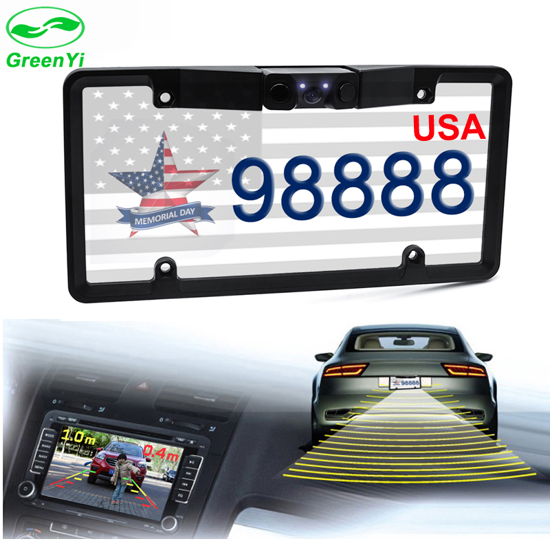 GreenYi Canada USA American License Plate Frame Video Parking Sensor Car Reaview Backup Reversing Camera with