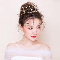 Vintage Gold Color Crown Tiara Plant Design Retro Headdress Hairband Princess Bridal Wedding Headpiece Coronet Hair