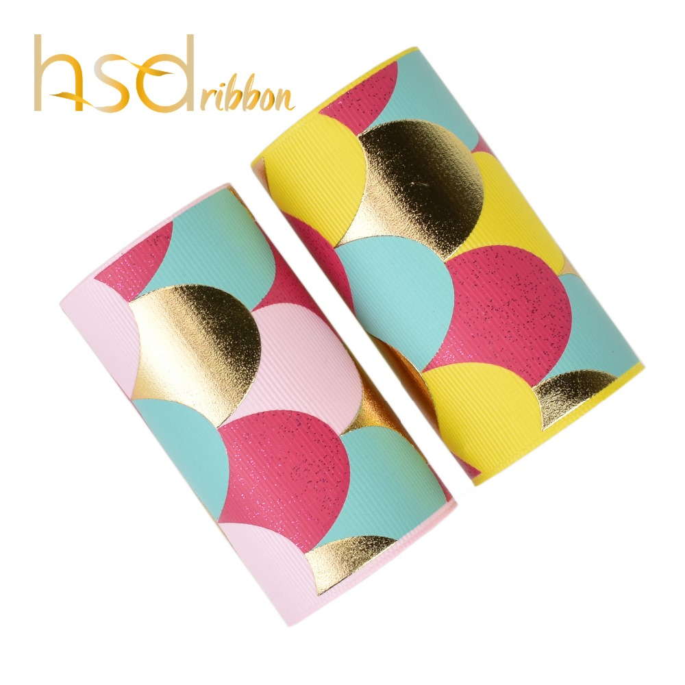 HSDRibbon custom 3 75mm two color with glitter and gold Foil Printed Fish scale on Soild