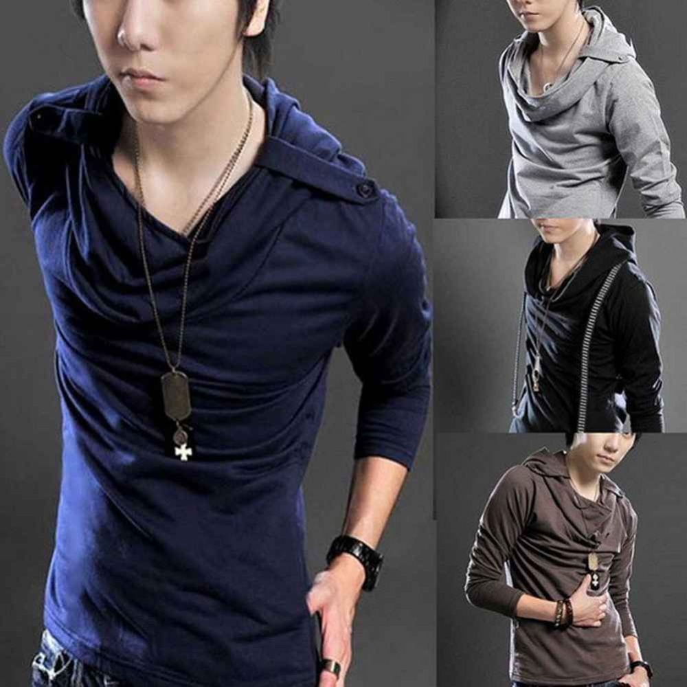 Unique And Fashionable Long Men: S5M Hot Korean Badges Hooded Design Men's Long Sleeve T