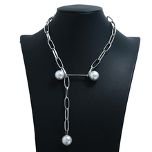 vintage Cool wind necklace web celebrity punk style pearl sweater metal chain exaggerated personality bouncing