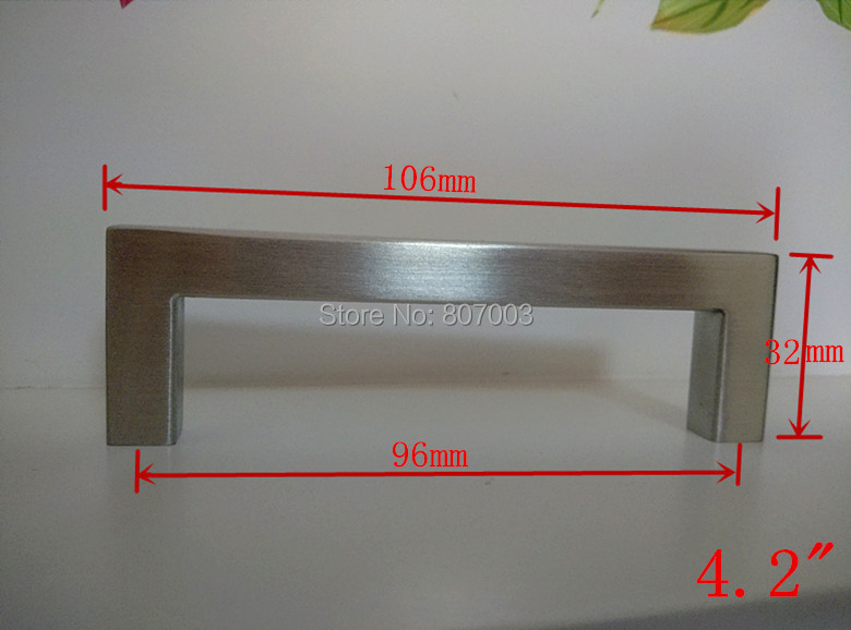 (Length:106mm) 10mm Square Bar Stainless Steel Kitchen Door Cabinet Handle  Pull Knob