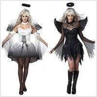 Girl Angel Demon Cosplay Costume Black Vampire White Angel Dress Halloween Party Adult Dress + Wings + Headwear