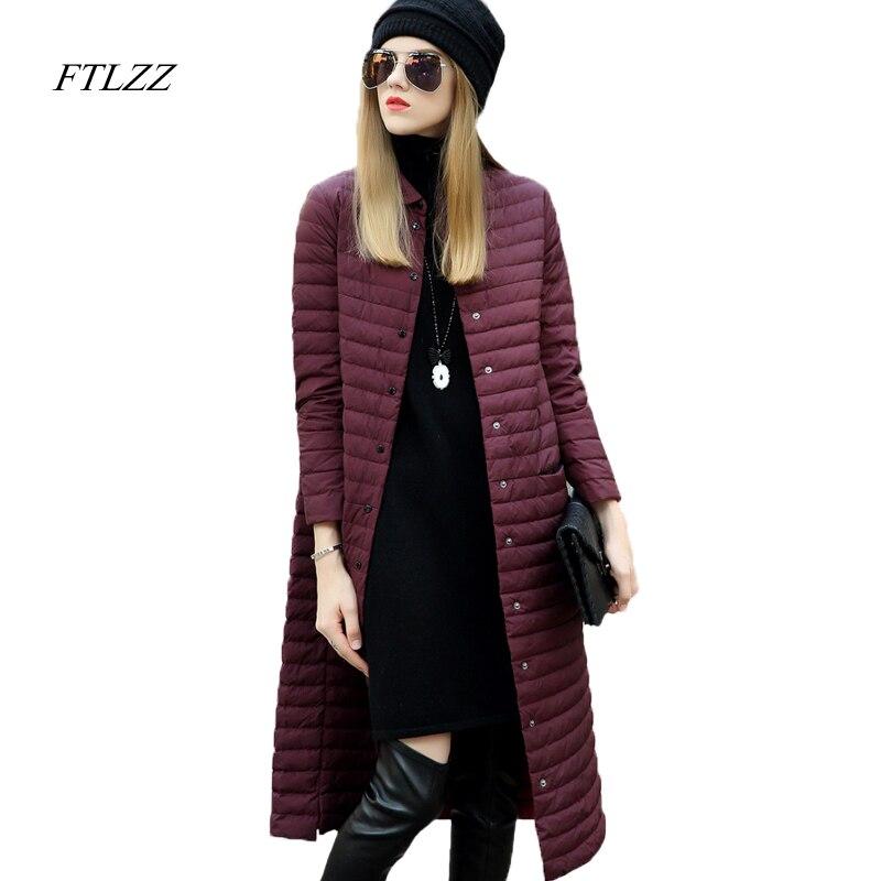 Ftlzz invierno ultradelgada chaqueta de plumón de pato para mujer delgada Chaqueta larga de plumón de Color sólido Venta caliente abrigos calientes mujer-in Plumíferos from Ropa de mujer    1