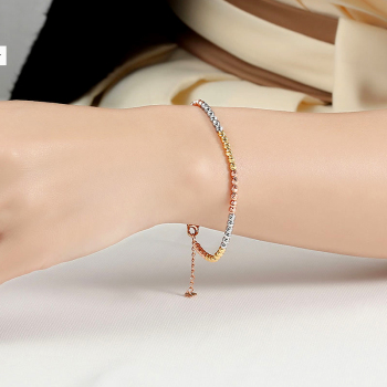 Gold Laser Beads Strands Bracelet 1