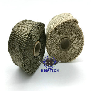 """Image 5 - 10m x  2"""" Free Shipping  Beige Exhaust Muffler Pipe Header Heat Resistant Exhaust Wrap With 10 Pcs Stainless Steel Cable Ties"""