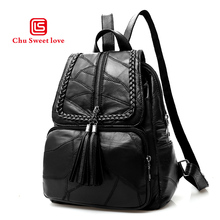 Womens sheepskin casual backpack autumn and winter new section of the youth trendy versatile shoulder bag