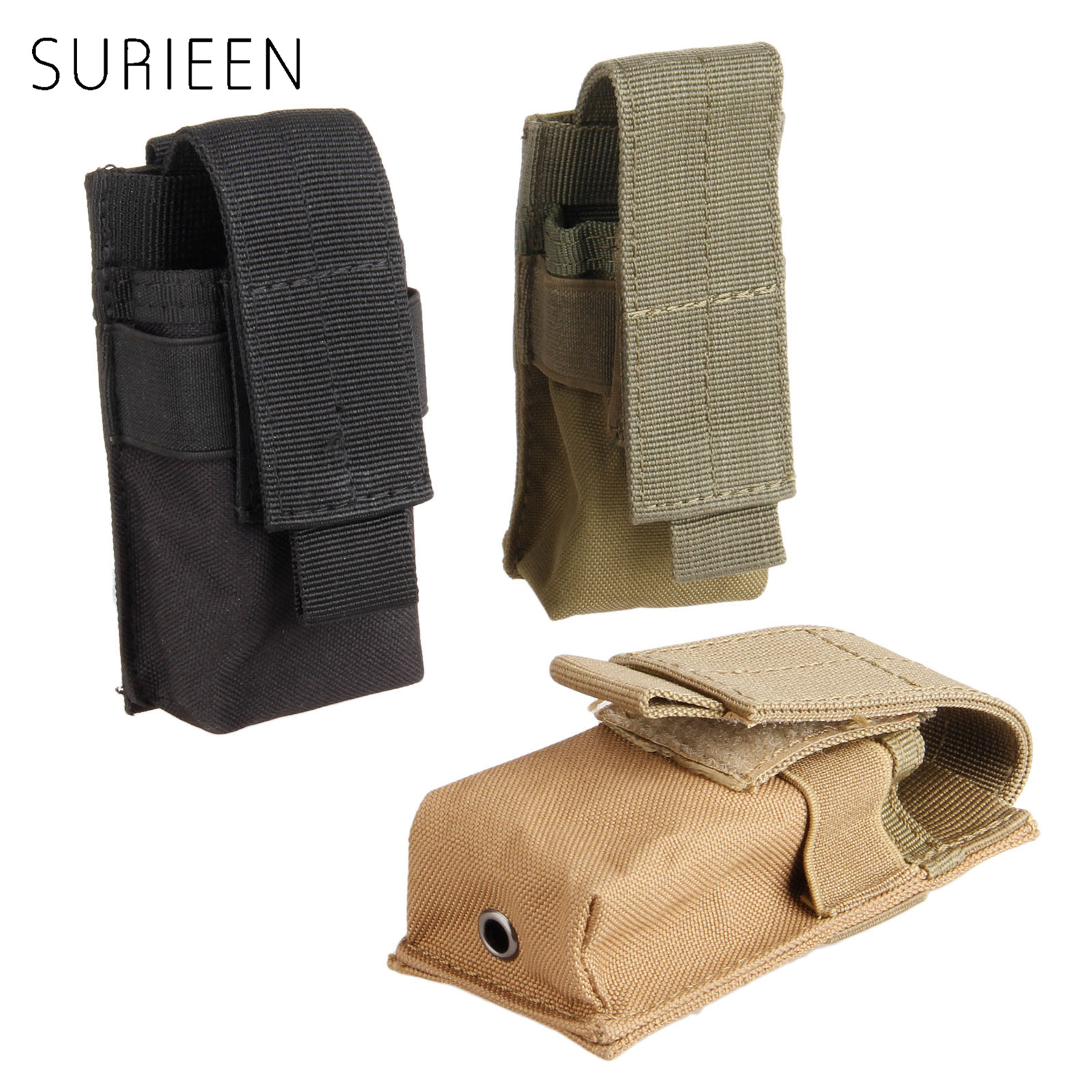 SURIEEN Mini Nylon Bag Tactical M5 Flashlight Bag MOLLE Clip Single Magazine Pouch Pistol Gun Holster for Hunting Vest Rucksack tactical military gun pistol holster magazine case for 1911 black