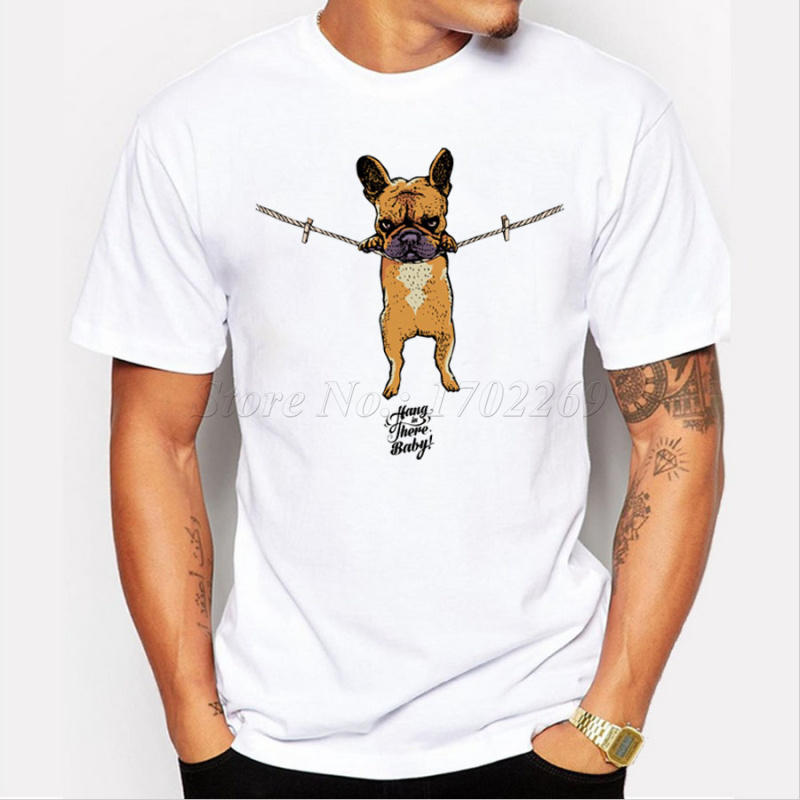 cartoon printed French Bulldog Men t-shirt Hang in there Baby men tops short sleeve casual t shirts hipster funny cool tee - intl