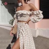 Conmoto Твист с открытыми плечами повседневное женское платье с рюшами пляжное Лето 2019 платья Женский, с цветочным принтом платье костюм Vestidos