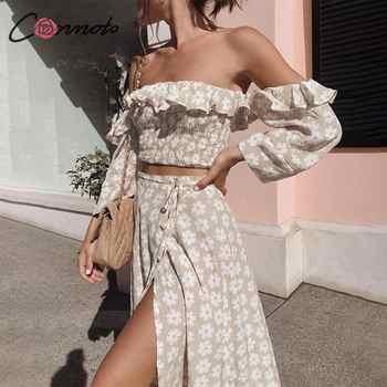 Conmoto Twist Off Shoulder Casual Women Dress Ruffle Beach Summer 2019 Dresses Female Floral Print Dress Suit Vestidos - DISCOUNT ITEM  44% OFF All Category