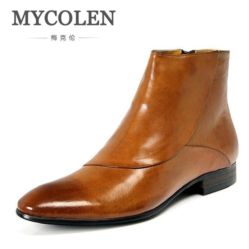 MYCOLEN New 2018 Autumn Winter Brand Shoes Men Chelsea Boots