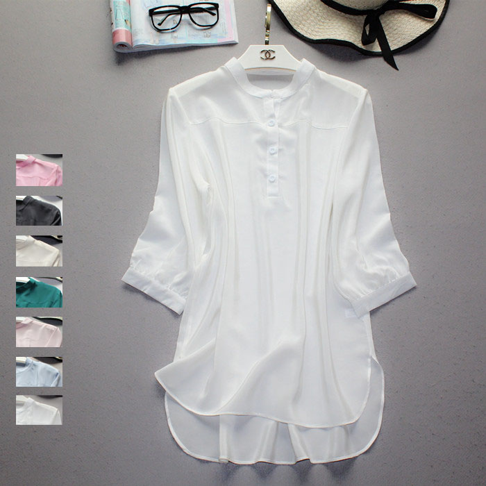 Image 2 - 2020 Spring and Autumn three quarter Sleeve Natural Silk Shirt office lady shirtBlouses