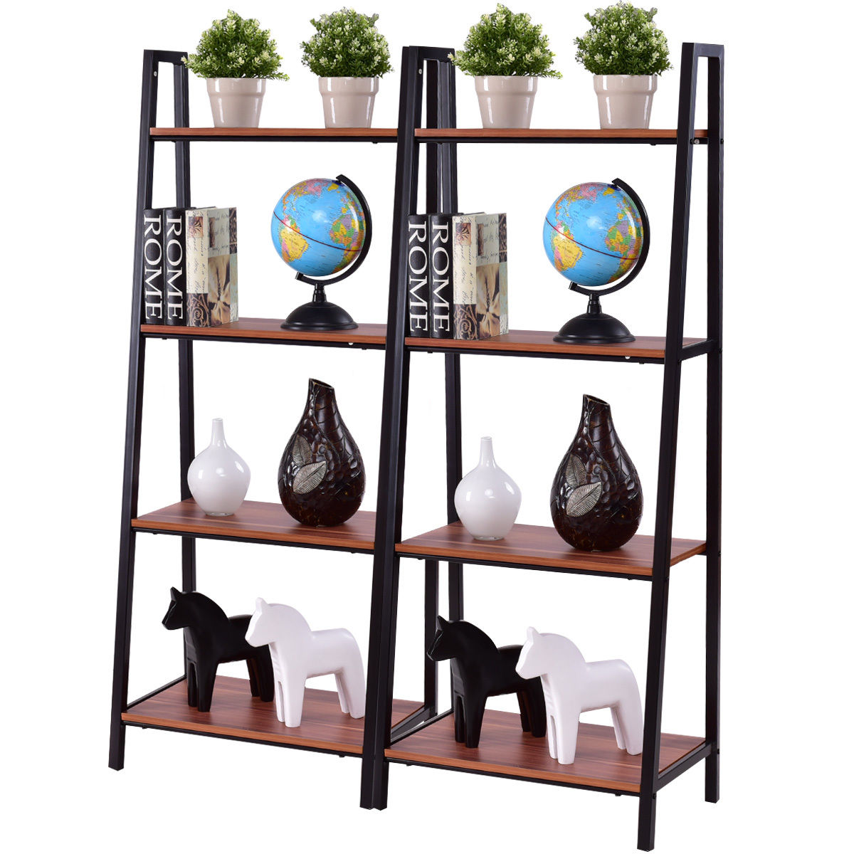 Giantex 2pcs 4 Tier Ladder Storage Bookshelf Living Room Wall Bookcase Bundle Modern Ladder