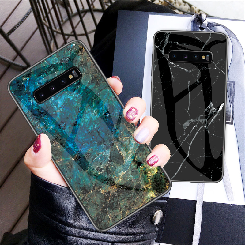 Image 1 - For Samsung Galaxy S10 Case UYFRATE Ultra Slim Smooth Marble Tempered Glass Cover Funda For Samsung Galaxy S10 S10 Plus S10e-in Fitted Cases from Cellphones & Telecommunications