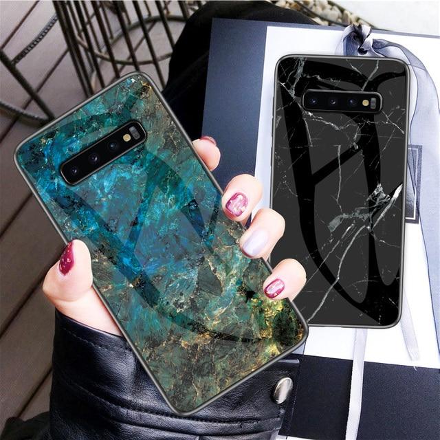 สำหรับ Samsung Galaxy S10 กรณี UYFRATE Ultra Slim Marble กระจกนิรภัย Funda สำหรับ Samsung Galaxy S10 S10 Plus s10e