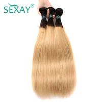 Sexay Blonde Straight Hair 3 Bundles Pack Peruvian Human Hair Weave 2 Tone T1B/27 Blonde Pre colored Non Remy Hair Weaving