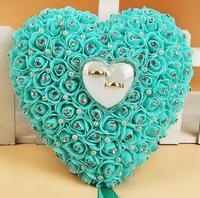 Foam Flower Heart Ring Holder Bridal Ring Pillow Bearer Rhinestone Valentine S Day Engagement Favor Romantic