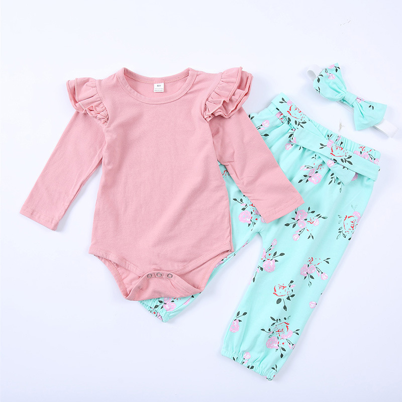 3 PCS Baby girl clothes Angel Pink Romper jumpsuit + Floral Leggings Pants +Headband Newborn Baby girls clothing set 3pcs set newborn infant baby boy girl clothes 2017 summer short sleeve leopard floral romper bodysuit headband shoes outfits