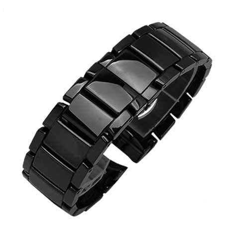 TKN Luxury Glossy Ceramic Watch Belt Replacement AR1452 AR1451 Black Frosted Bright Chain for Men 22 24 mm | Watchbands