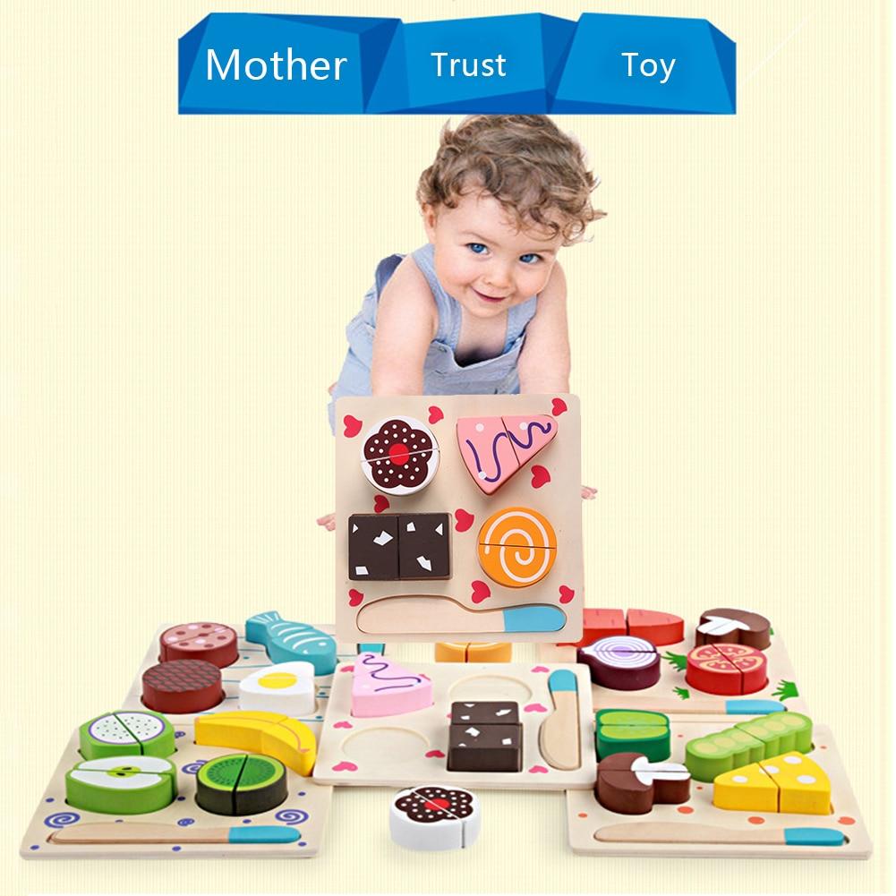 Pretend Play Toys : Wooden fruits dessert set fun baby pretend play cutting
