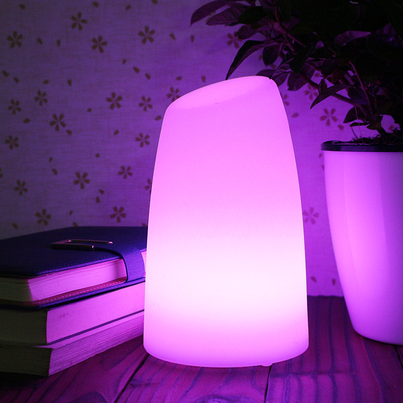 LED Cylinder Table Night Light Chargeable Cordless Illuminate Remote ...
