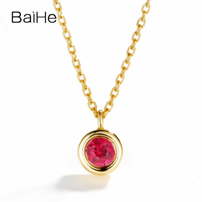 BAIHE Solid 18K Yellow Gold(AU750) 0.14ct Certified Round Cut 100% Genuine Natural Ruby Engagement Fine Jewelry Gift Necklaces baihe solid 18k yellow gold au750 engagement