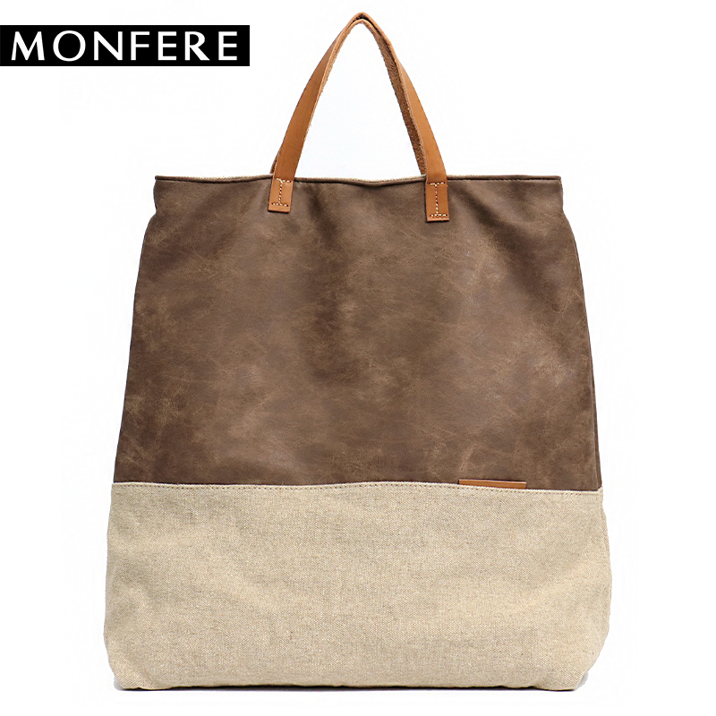MONFERE Women PU Leather Bag Canvas Handbags Large Totes Bags Female Luxury Designer High Quality Casual Shoulder Crossbody Bag цена