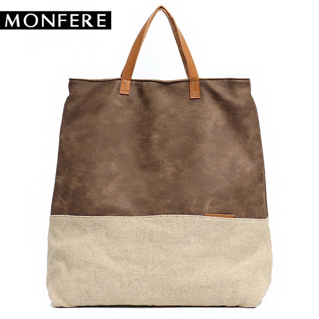 Monfere Women Pu Leather Bag Canvas Handbags Large Totes Bags Female Luxury Designer High Quality Casual