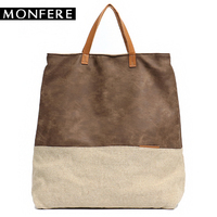 MONFERE Women PU Leather Bag Canvas Handbags Large Totes Bags Female Luxury Designer High Quality Casual Shoulder Crossbody Bag