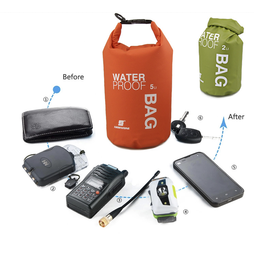 Outdoor Kayaking 2L 5L 10L 15L Waterproof Storage Dry Bag Sack Pouch Camping Rafting River Trekking Floating Sailing Canoe Boa in Rowing Boats from Sports Entertainment