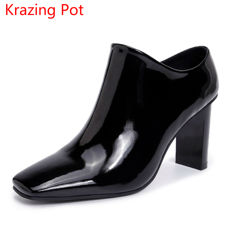 2018 Patent Leather Brand Shoes Solid Thick High Heels Gladiator Women Pumps Causal Square Toe Office Lady Handmade Shoes L59 2017 gladiator shoes women high heels slip on women pumps solid color round toe elegant high quality dress office lady shoes