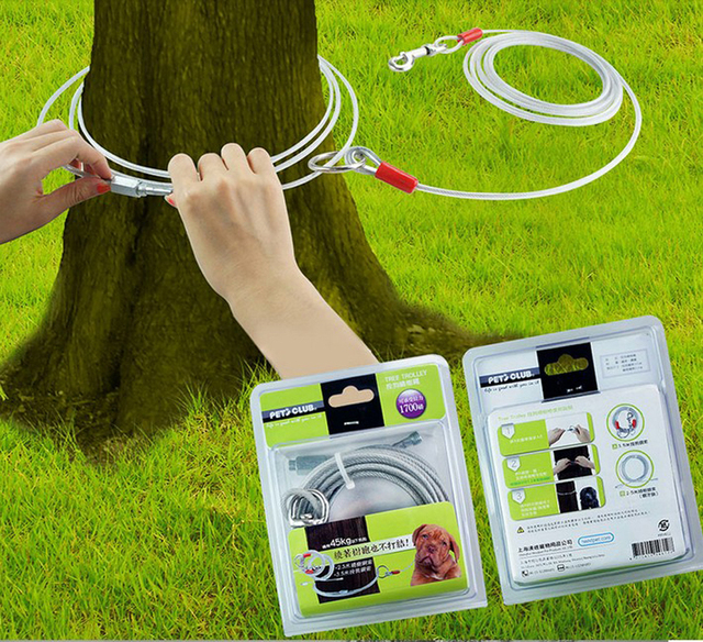 Outdoor Dog Leash Round Tree Lessen Crash Pet Steel Wire With Cover Anti Rust