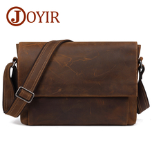 JOYIR Mens Genuine Leather Messenger Bag Vintage Crazy Horse Shoulder Cowhide 13 Laptop Crossbody For Man B96